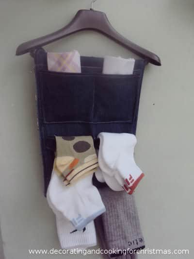 Recycled old denim into hanging closet organizer