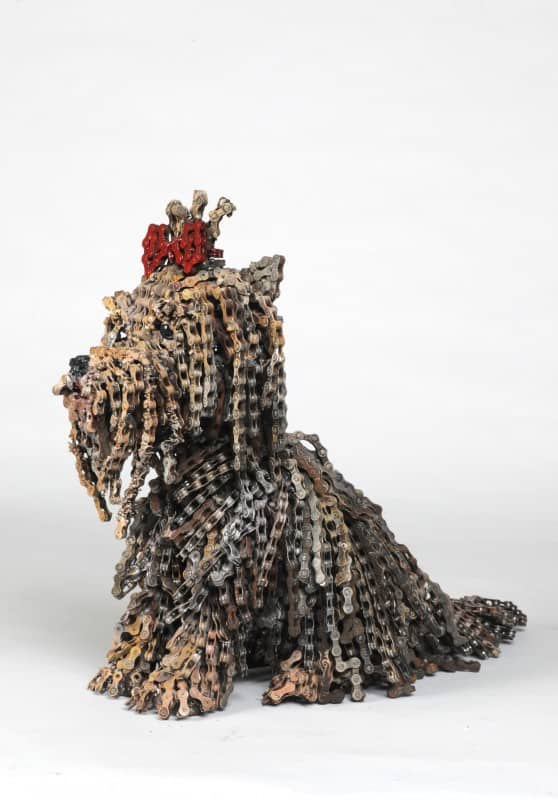Choo Choo 558x800 Recycled Bicycle Chains Dogs by Nirit Levav in bike friends art  with Sculpture Reused Recycled puppies Dog Chain bikes Bike Art