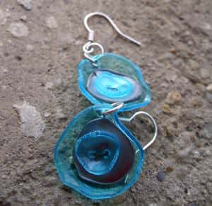 Recycled and reused earrings