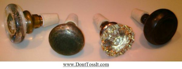 Re purposed Door Knob into Wine stoppers in metals accessories  with Wine Salvaged Repurposed home Glass brass Antique