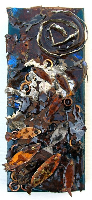 Assembled artwords using recuperated and found objects in art  with Wood Recycled Art Metal