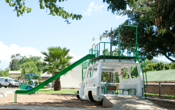 ambulance0 600x376 Ambulance playground in Malawi in social metals architecture with playground Kids car Africa