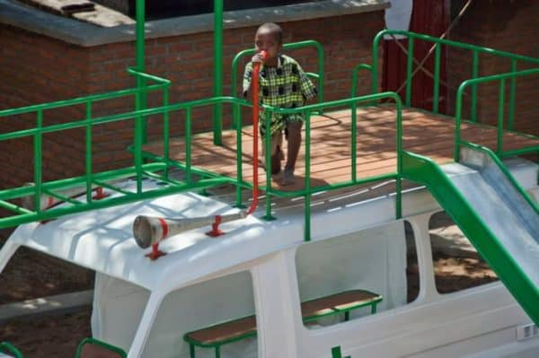 Ambulance playground in Malawi in social metals architecture  with playground Kid car Africa