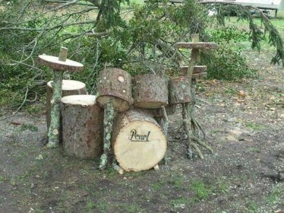 Drum set made out of wood