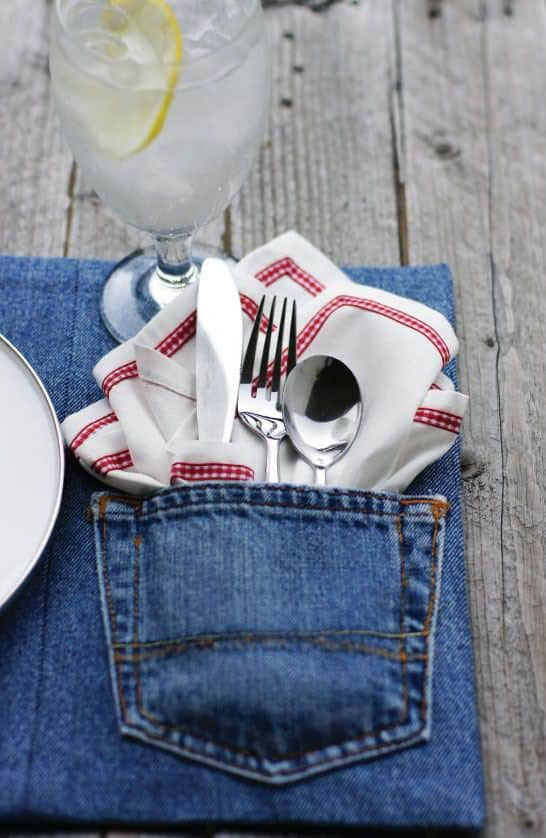Transform Old Denim into Placemats Clothing Do-It-Yourself Ideas