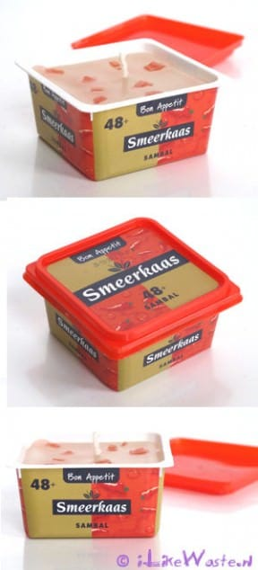 Smeerkaars: recycled candle in a cheese spread package