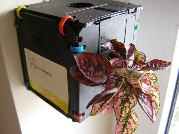 Re formatted/format a: Floppy disk planter in garden 2 electronics diy  with Planter Garden ideas Floppy Disk