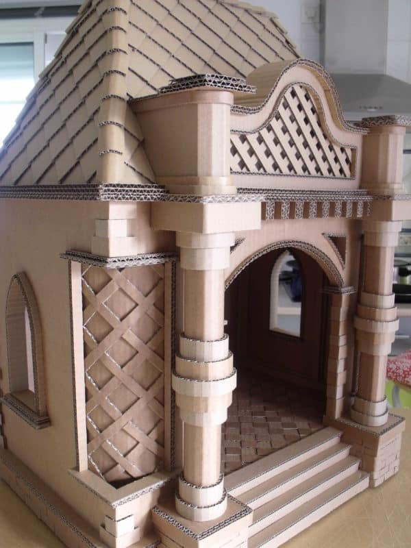 Dollhouse or Cathouse or Doghouse  in cardboard  with Recycled Cardboard