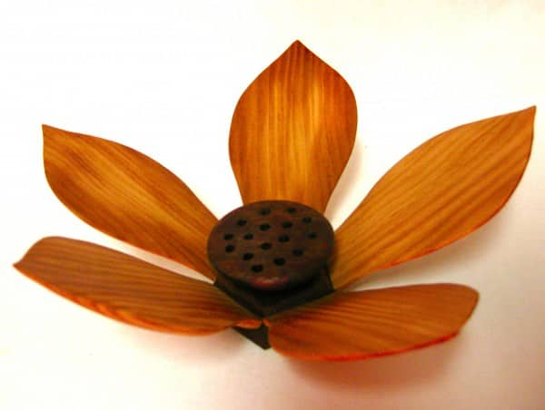 Lotus Flower Sculpture Recycled Art Wood & Organic
