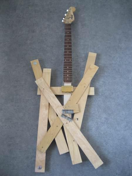Bed Slats Guitar in wood diy  with Slats Music Instrument guitar