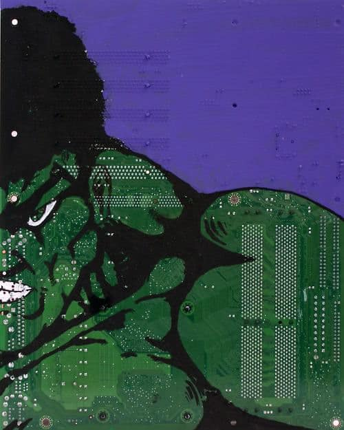 Alternative canvas from electronics in art  with motherboard Floppy Disk Electronics & E Waste CD