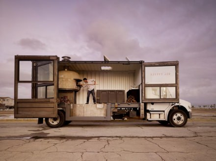 Mobile pizzeria in a shipping container