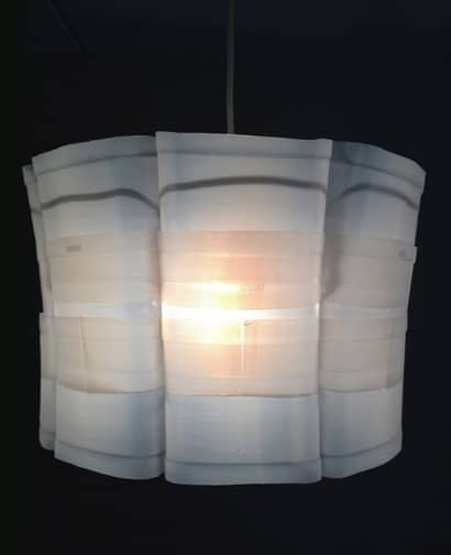 Upcycled plastic milk carton: Milkflower lampshade