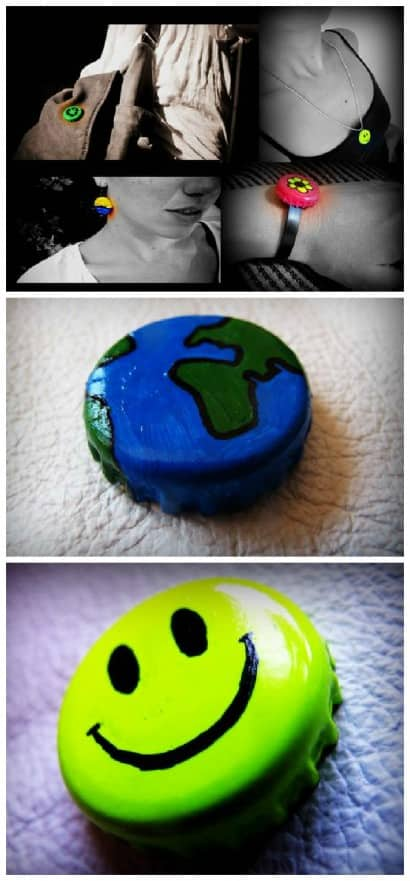 Handpainted Bottle Caps Jewelry