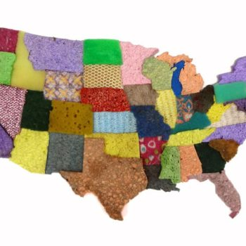 USA Map From Used Sponge Assemblage