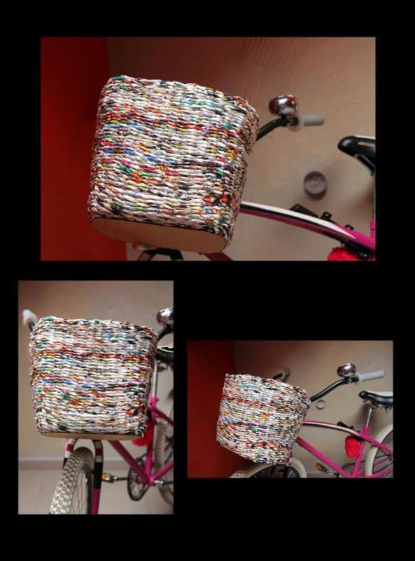 Bicycle basket made from paper in paper  with Paper & Books Bike Basket