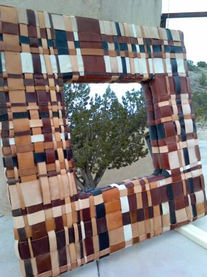 Leather scrap mirror frame