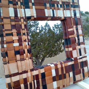 Leather scrap mirror frame
