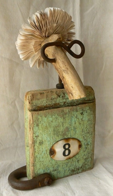 Re-used Book, Wood, Hook ... Recycled Art