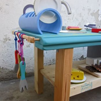 Kid's kitchen made out of reclaimed materials