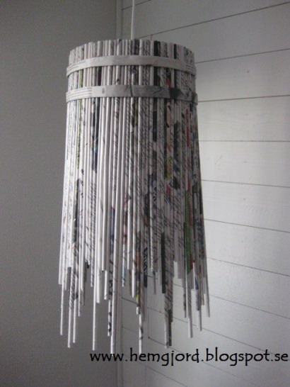 Newspaper pendant lamp