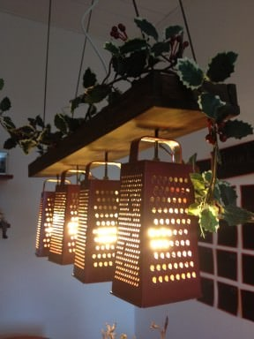 Suspended lamp made out of recycled graters