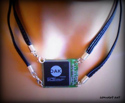 Necklaces from recycled electronic circuits