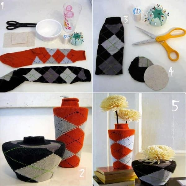 socks vase 600x600 Socks vase covers in diy with vase Sock Flowers