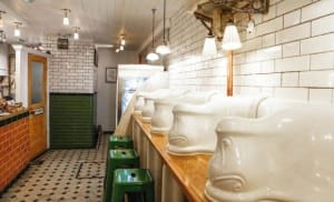 Victorian toilets of the 1890′s transformed into a cafe