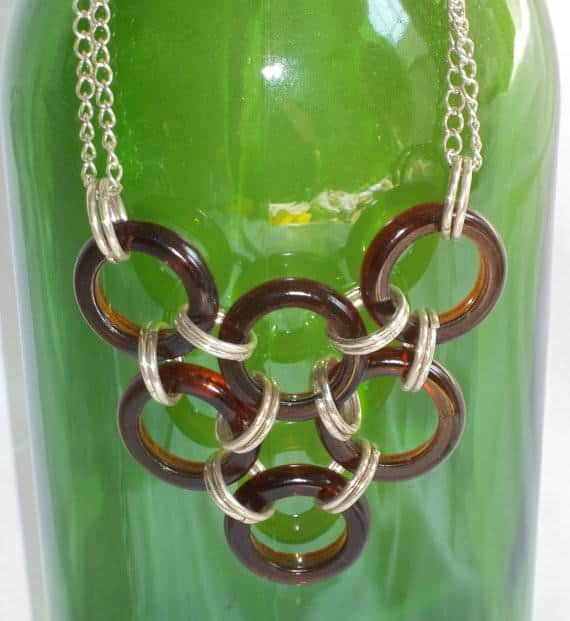 Beer Bottle Ring Necklace Recycled Glass Upcycled Jewelry Ideas