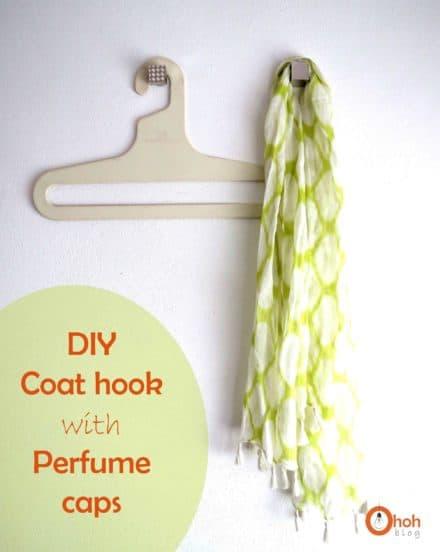 DIY: Upcycled perfume caps into coat hook
