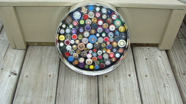 Buttons art in art  with Upcycled Recycled Art Frame Buttons Assemblage