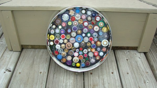 Buttons art in art  with Upcycled Recycled Art Frame Assemblage