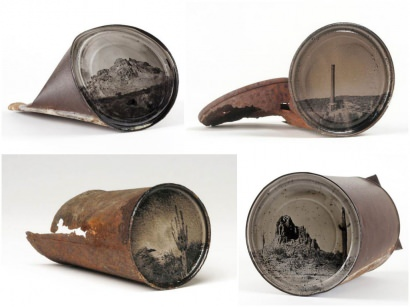 Photography on old rusty cans