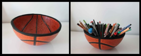 Upcycled Basketball Ball in accessories  with Upcycled Recycled Pencil holder Basketball