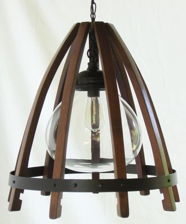 Medusa, Recycled Oak Wine Barrel Staves & Hoop Pendant Light With Glass Shade Lamps & Lights Wood & Organic