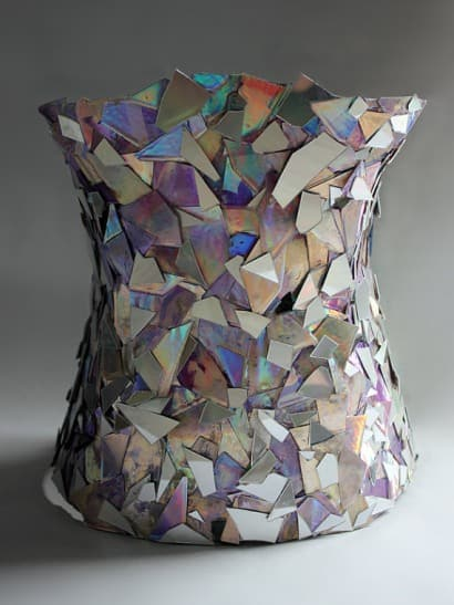 Mirror corset from recycled CDs