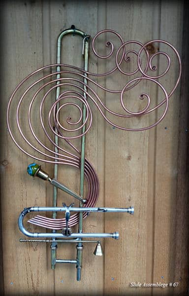 Trombone Slide Sculpture Recycled Art Recycling Metal