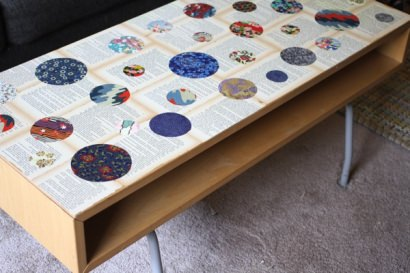 Recycled Novel Page and Washi Paper Coffee Table
