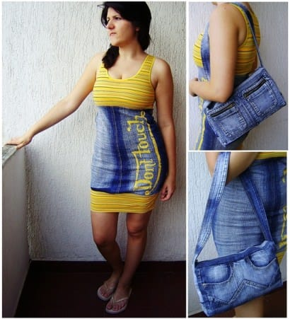 "Recycled jeans ""Don't Touch"" Dress and Notebook Bag"