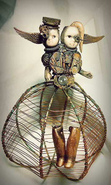 Little bestiary in art  with Sculpture Metal Dolls