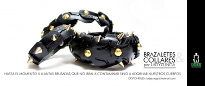 Recycled tire bracelets