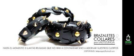 Recycled tire bracelets