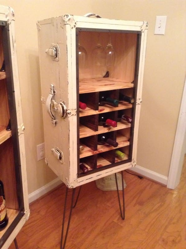 Matchin Steamer trunk wine and liquor cabinets Recycled Furniture
