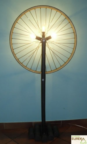 Floor lamp from bike wheel