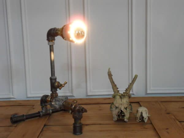 Industrial lamp pipe in lights  with Upcycled Recycled plumbing pipe Metal Light Lamp DIY Assemblage