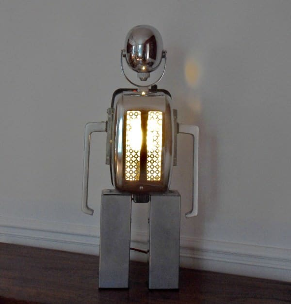 A recycled toaster robot lamp in lights art  with Upcycled toaster Sculpture Robot Recycled Metal Lights Lamp Handmade design Assemblage