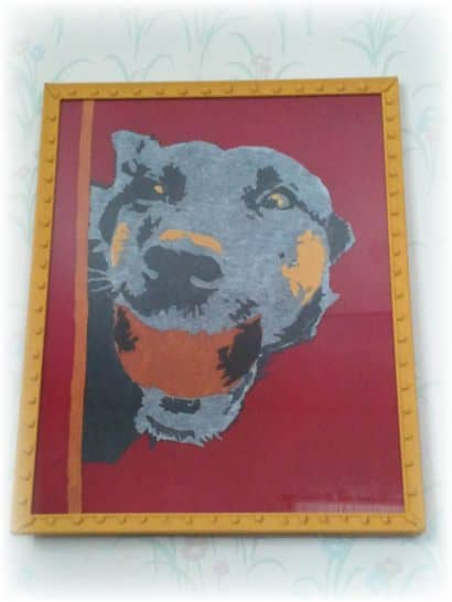 Abstract Dog Portrait from Upcycled T-shirts