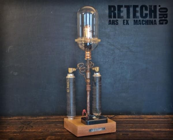 ReTech Lighting in lights  with upcycle steel steampunk Sculpture reuse retech repurpose recyle reclaim Metal Furniture functional fine art cyberpunk Art