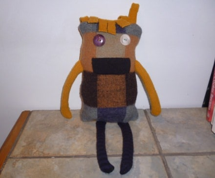 Monster stuffie using ugly vintage wool sweater